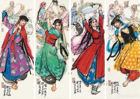 14史国良人物四屏 镜心 RMB 800,000-1,200,000