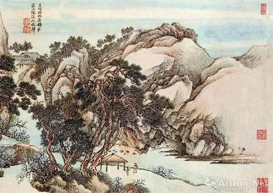 [清]王翬 放翁诗意图册之一 42cm×29.5cm 纸本设色 广东省博物馆藏