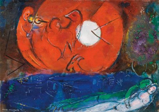 马克・夏加儿,习作:旺斯之夜,1953
