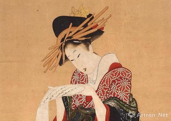《艺妓读信》局部,喜多川歌麿 (?-1806),彩色木刻版画,约1805—1806年