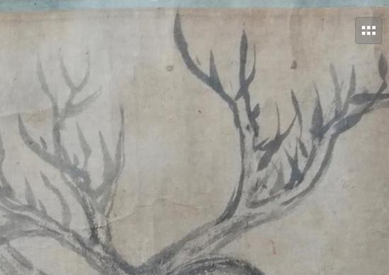 《木石图》画作中的树枝局部