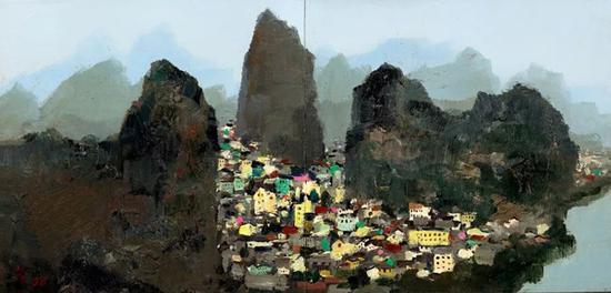 吴冠中《桂林》 1977-1996 年作 油彩木板(双联作) 42.5 x 88 cm。 成交价:HK$ 23,600,000