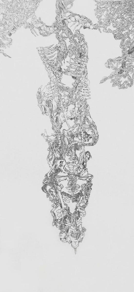 贾西贝娃 Jia Xibeiwa 魑魅魍魉系列之一 152.4×70cm 纸本中性笔 Roller Ball Pen on Paper 2017