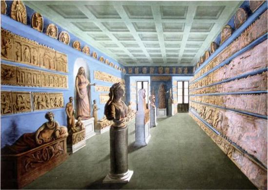 La salle des terres cuites du musée Campana au Mont-de-Piété à Rome