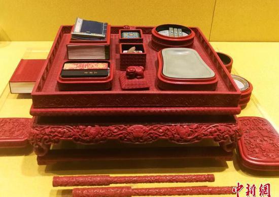 午门展览大厅中展出的紫禁城中清朝皇帝使用的文房四宝。