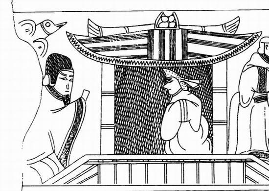 图2 曹操墓被盗画像石第一石下段上层左侧画像
