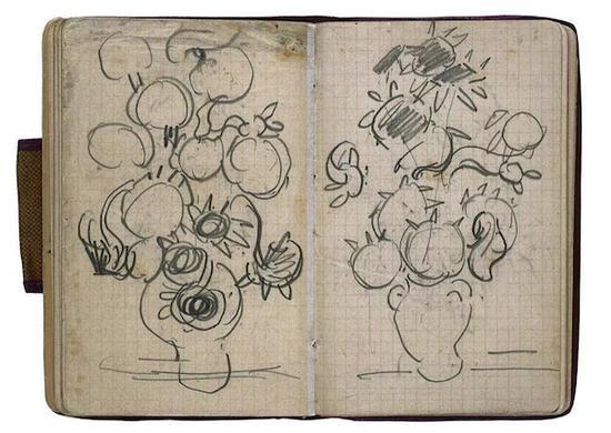 梵高,阿尔勒-巴黎速写本里的向日葵,1890年5月-7月