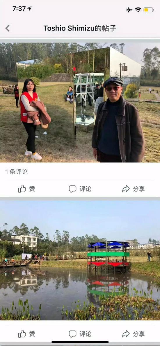 上:杨千在作品《钻石梯》前合影 下:郑国谷作品《心似莲花开,清风自然来(2018)》