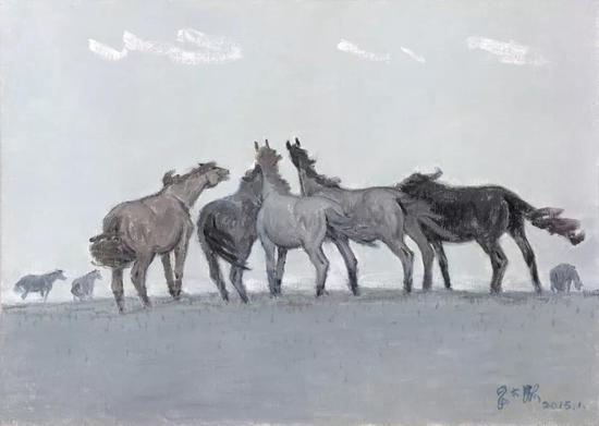 妥木斯《正月的风》布面油画 140×100cm 2015