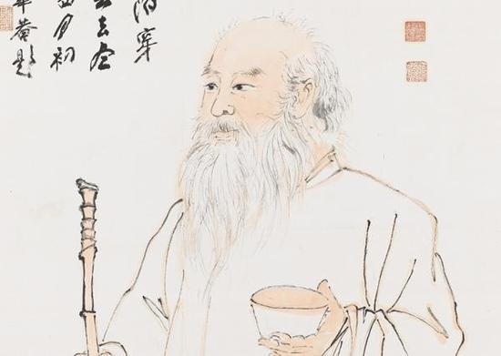 《大千居士乞食图》(局部),张大千,1975年