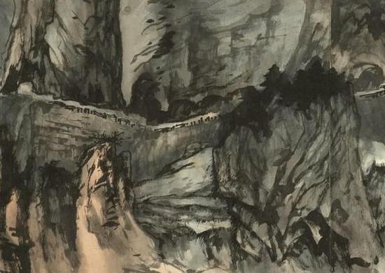 《苏花揽胜图卷》(局部),张大千,纸本泼彩泼墨,1965年