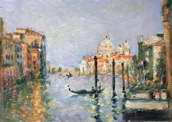 董蕾正在临摹的颜文樑1930年的《威尼斯运河》