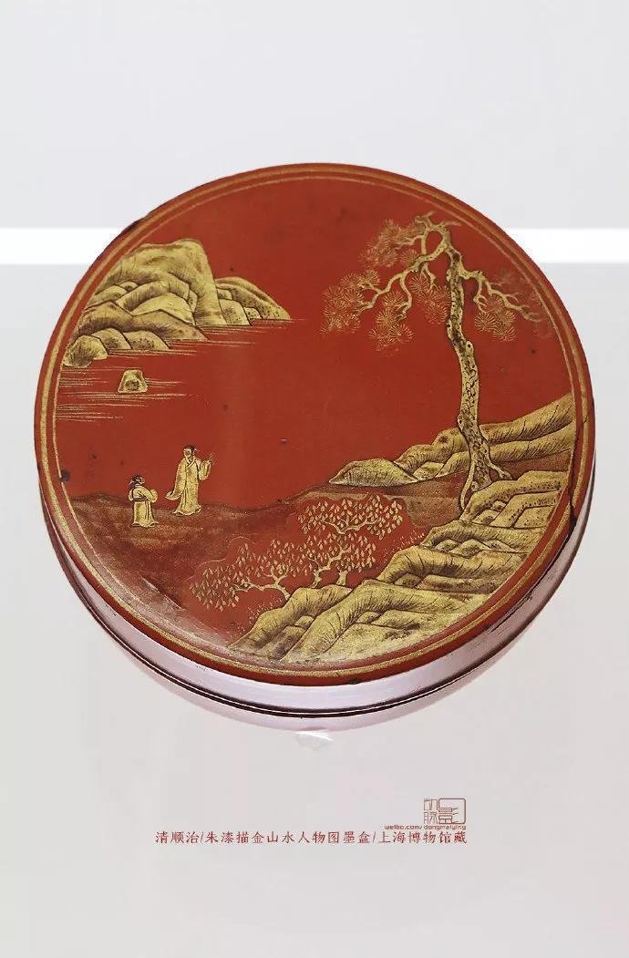朱漆描金山水人物图墨盒 清 顺治   上海博物馆藏
