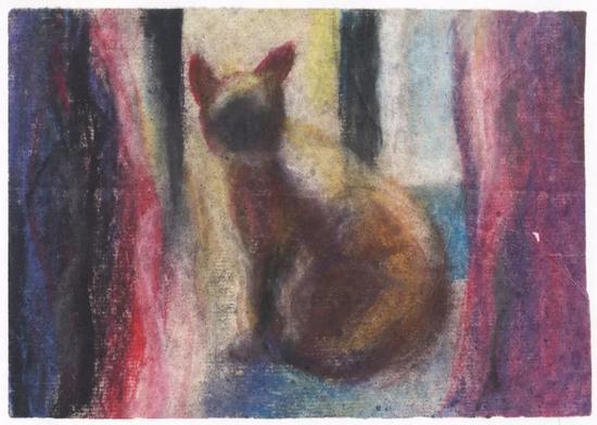 [粉墨人生]《猫》宣纸、色粉 12×17厘米 2014.5.14