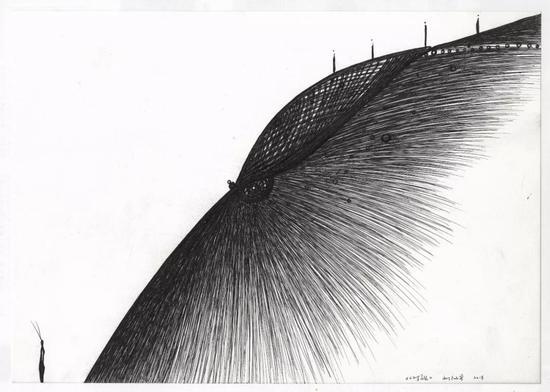 [有界而定]《对视》 水彩纸、中性笔 29.7×20.9cm 2018.1.28