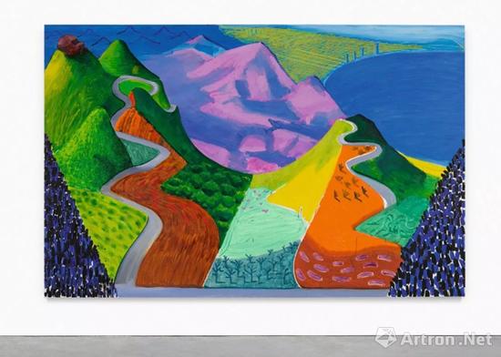 大卫-霍克尼(David Hockney)《太平洋海岸公路与圣塔莫尼卡》 油彩画布 198.1 x 304.8 公分 1990成交价:2845.3万万美元