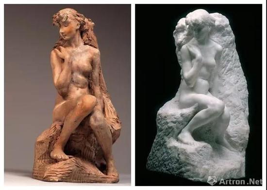 左:《Jeune fille à la gerbe, avant》,卡米耶,1887