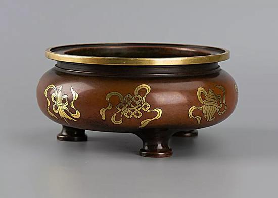 铜鎏金八吉祥纹宣德炉(大明宣德年制款)