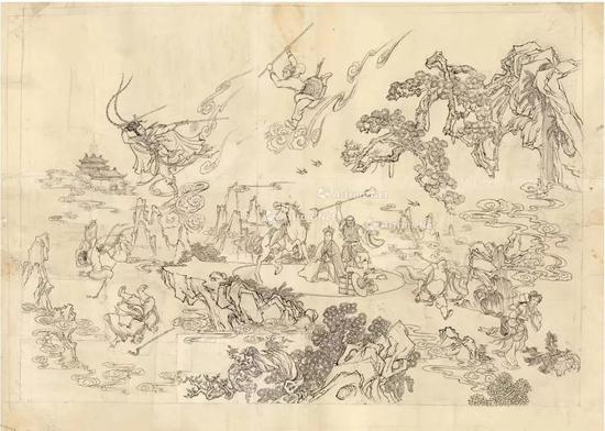 《孙悟空三打白骨精》大幅水墨设计稿 纸本 水墨线描成交价9.775万