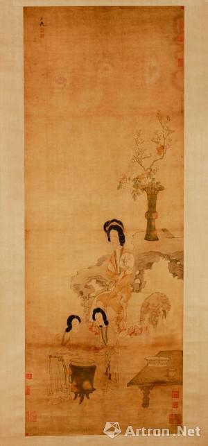 《明 陈洪绶调梅图轴》。画中我们可以看到前面有两名婢女正在调制梅酱