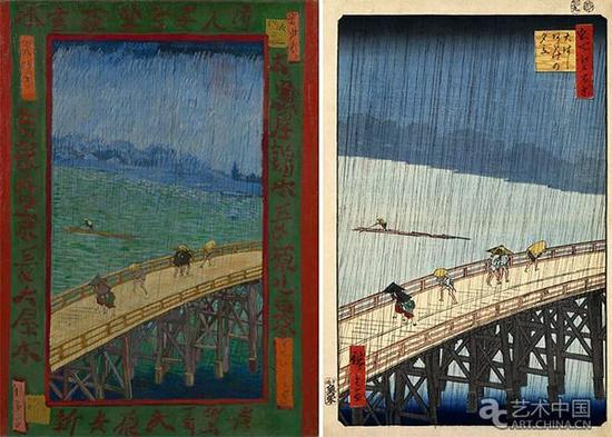左:文森特·梵高,《雨中的桥》,1987,阿姆斯特丹梵高美术馆馆藏 右:歌川広重,《大桥骤雨》,1857