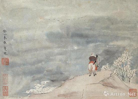 苏曼殊《雪山行旅图》设色纸本 20.3×28.5cm