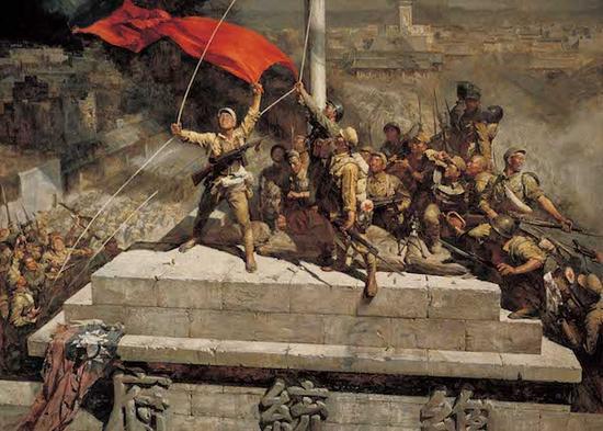 陈逸飞、魏景山,《占领总统府》,335×460cm ,布面油画,1977年