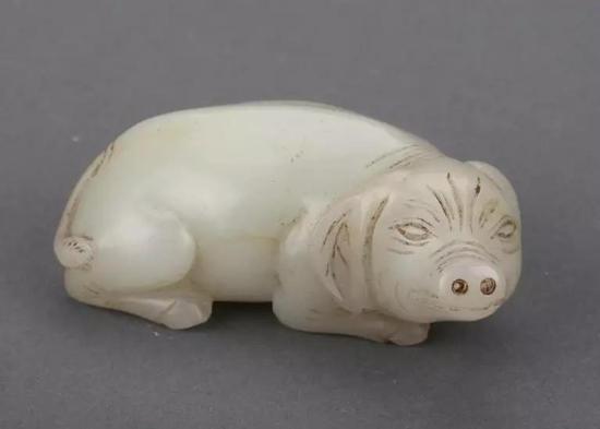 ▲白玉卧猪 明(1368年—1644年)