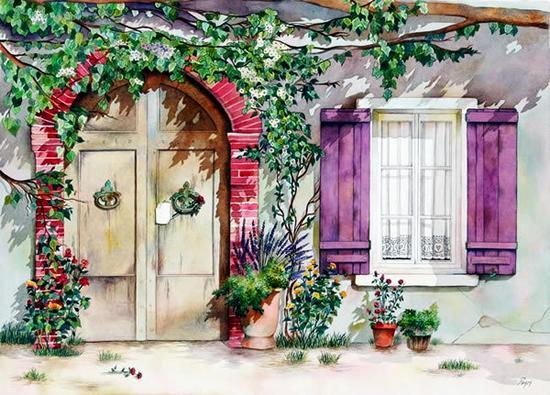 春暖花开的日子:美国画家 Pomm 的水彩作品