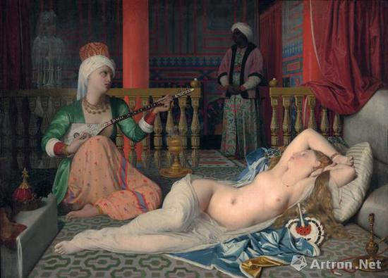 安格尔《宫娥》1839-1840年 哈佛大学美术馆藏