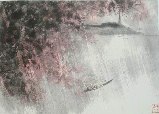 傅抱石,《江南春雨》,27.9x39cm,1963年