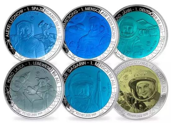 ▲登月50周年杰出人物6枚纪念银钛币