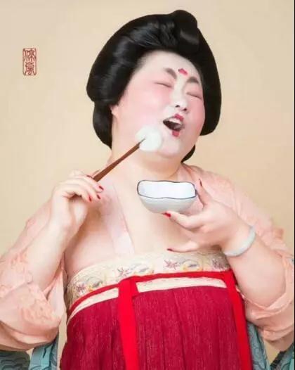 ▲唐朝胖仕女吃汤圆表情包