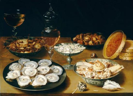 ]Osias Beert,Dishes with Oysters, Fruit, and Wine,1615