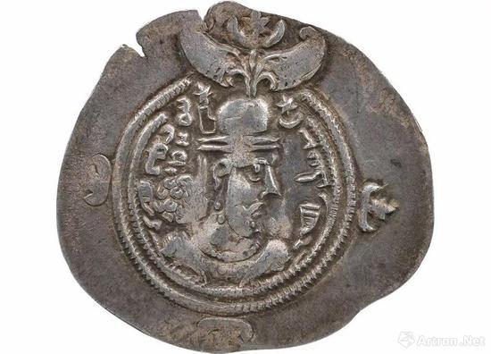 """6世纪 波斯""""萨珊王朝库思老二世""""银币"""