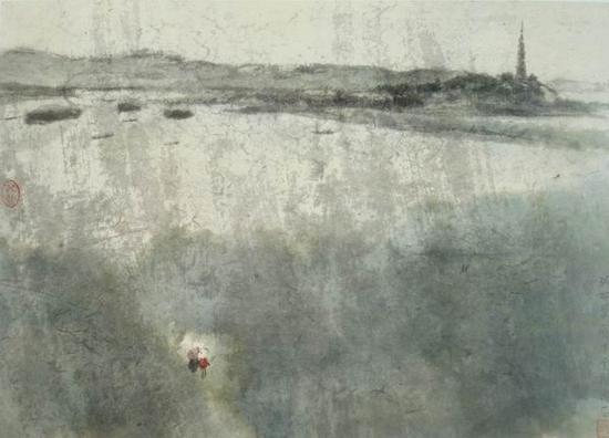傅抱石,《春雨西湖》,28x39cm,1963年