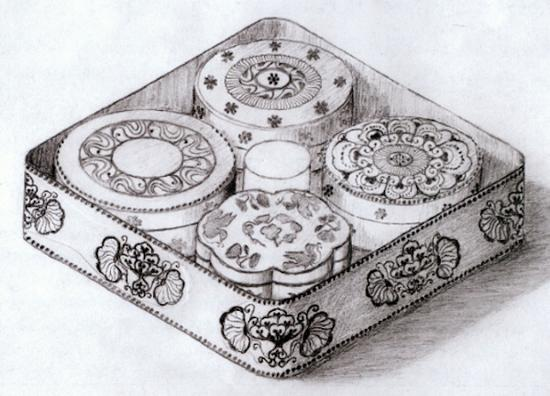 李倕墓出土漆盒复原示意图