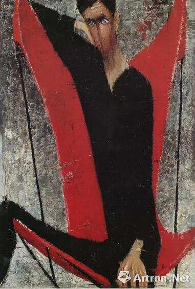 顾福生《何先生》油彩 画布1959年作 台北市立美术馆馆藏