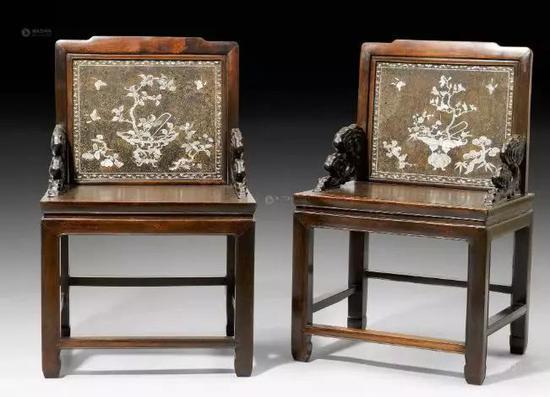 硬木嵌螺钿屏背椅 清晚期图片来源于雅昌网