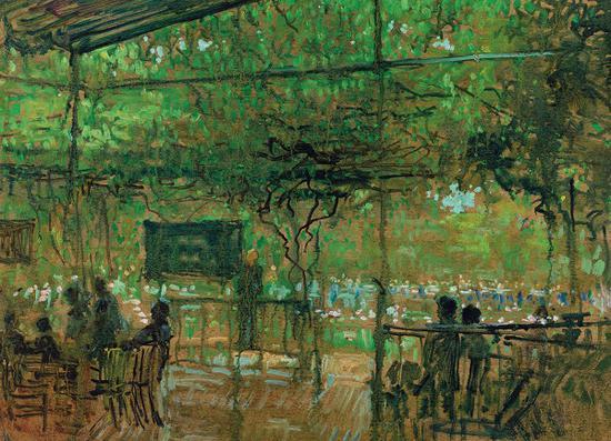 任微音 《雨中品茶》 油画 1979年