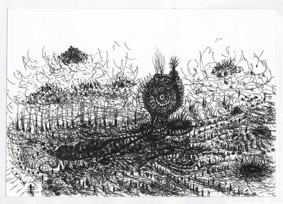 [大地圣灵]《大地之钟》 水彩纸、中性笔 19.5×27.1cm 2017