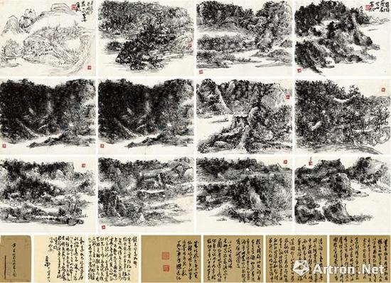 黄宾虹《蜀游峨眉山水十二图》(共十六页)画心22×17cm×12 题跋22×17cm×4