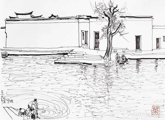 吴冠中 《宁波水乡》 素描写生 1980年作