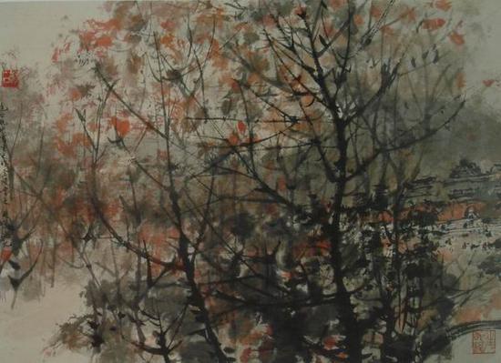 傅抱石,《虎跑深秋》41x55.5cm ,1962年