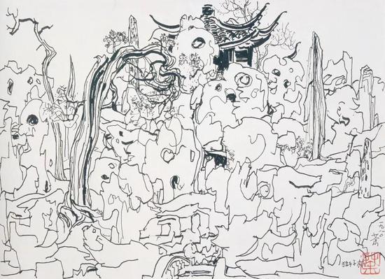 《苏州狮子林》素描 1980年作