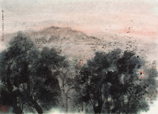 叶茂中 《秋山尽染霞光远》 设色纸本 镜心 68×95cm 2020年
