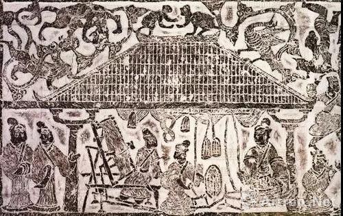 """中国国家博物馆藏""""纺织画像石""""(资料图)"""