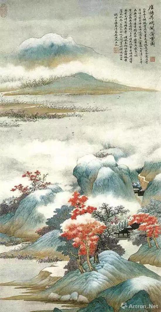 吴湖帆己丑(1949)年作 《峒关蒲雪图》 镜心95×41厘米