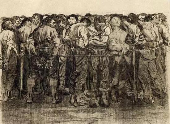 《农民组画:俘虏》 铜刻版画 33×42cm