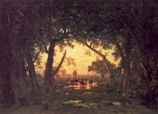 图一:泰奥多罗·卢梭《枫丹白露森林的黄昏》(1848),卢浮宫。